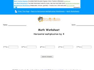 Math Worksheet: Horizontal Multiplication by 4 Worksheet