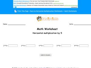 Math Worksheet: Horizontal Multiplication by 5 Worksheet