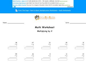 Math Worksheet: Multiply by 2 Worksheet