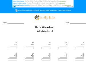 Math Worksheet: Multiplying by 10, #1 Worksheet