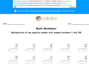 Math Worksheet:  Multiplying with 1 Negative Number #3 Worksheet