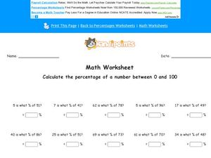 Math Worksheet: Percentages Worksheet