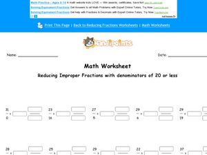 Math Worksheet: Reducing Improper Fractions #2 Worksheet