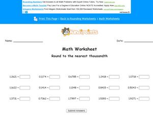 Math Worksheet: Rounding to the Nearest Thousandth Worksheet