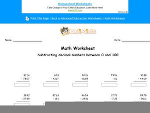 Math Worksheet: Subtracting Decimal Numbers Between 0 and 100 Worksheet