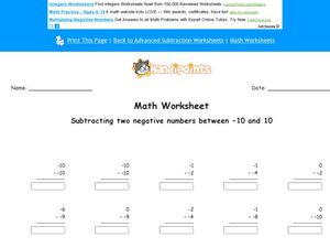 Math Worksheet: Subtracting Two Negative Numbers Between -10 and 10 Worksheet