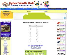 Math Worksheets- Fractions to Decimals Worksheet