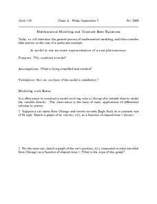 Mathematical Modeling and constant Rate Equations Worksheet