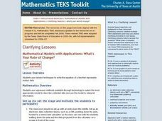 Mathematical Models with Applications: What's Your Rate of Change? Lesson Plan