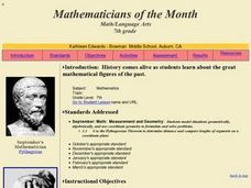 Mathematicians of the Month Lesson Plan