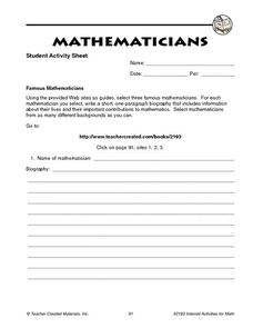 Mathematicians Worksheet