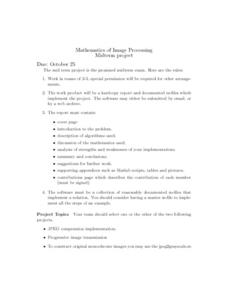 Mathematics of Image Processing Project Worksheet