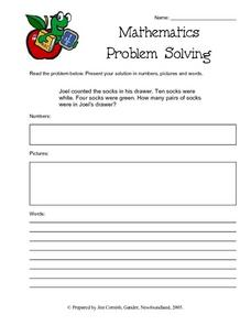 Mathematics Problem Solving-- Counting the Socks in the Drawer Lesson Plan