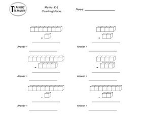 Maths K-1  Counting Blocks Worksheet