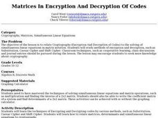 Matrices In Encryption And Decryption Of Codes Lesson Plan