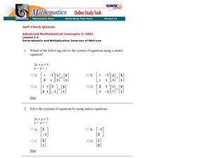 Matrices Worksheet