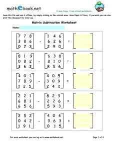 Matrix Subtraction Worksheet