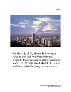 May 18, 1980 - Mount St. Helens Worksheet