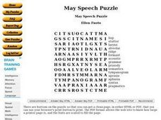 May Speech Puzzle Worksheet
