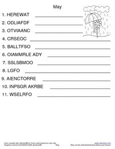 MAY WORD SCRAMBLE Worksheet