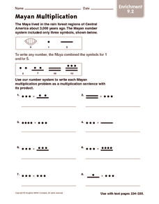 Mayan Multiplication: Enrichment Worksheet