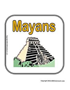 Mayans Cover Sheet Page Worksheet
