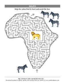 Mazes - Help the Zebra Avoid the Lion Lesson Plan