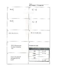 MCA Master - 7th Grade #21 Worksheet