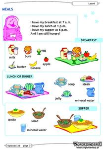 Meals Worksheet