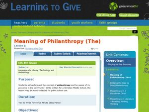 Meaning of Philanthropy Lesson Plan