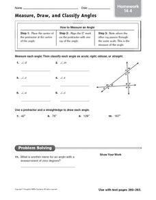 Measure, Draw, and Classify Angles: Homework Worksheet
