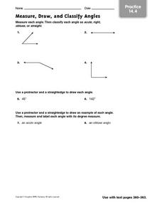Measure, Draw and Classify Angles - Practice 14.4 Worksheet