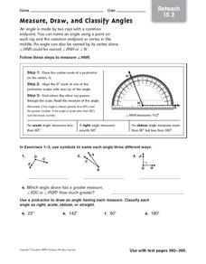 Measure, Draw, and Classify Angles: Reteach Worksheet
