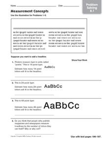 Measurement Concepts: Problem Solving Worksheet