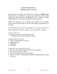 Measurement: Cylinders Lesson Plan