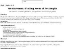 Measurement: Finding Areas of Rectangles Lesson Plan