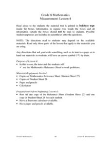 Measurement: Lesson 4 Lesson Plan