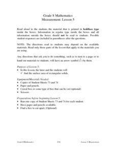 Measurement: Lesson 5 Lesson Plan