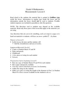 Measurement: Lesson 6 Lesson Plan