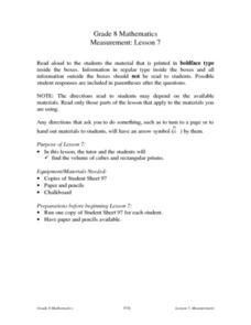 Measurement: Lesson 7 Lesson Plan