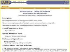 Measurement: Using the balance Lesson Plan