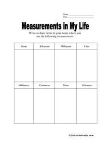 Measurements in My Life: Metric Worksheet