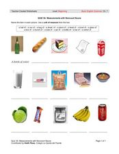 Measurements with Noncount Nouns Worksheet