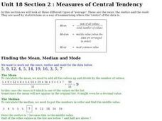 Measures of Central Tendency- Mean, Median, and Mode Worksheet
