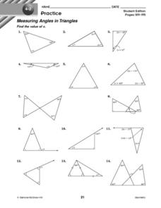 Measuring Angles in Triangles 10th Grade Worksheet