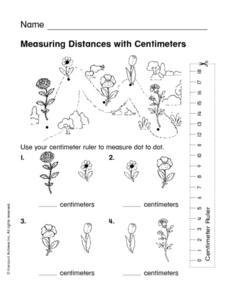 Measuring Distance with Centimeters Worksheet