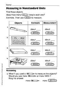 measuring in nonstandard units 1st 2nd grade worksheet lesson planet. Black Bedroom Furniture Sets. Home Design Ideas