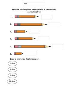 Measuring Length in Centimeters and Millimeters Worksheet