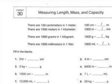Measuring Length, Mass, and Capacity Worksheet