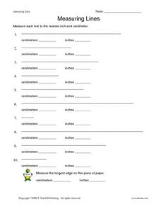 Measuring Lines to Inch and Centimeter Worksheet